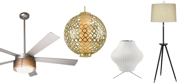 Pharos Ceiling Fan with Light by Modern Fan Company, Pear Bubble Lamp w/Stand by George Nelson, Bangle Suspension by Corbett Lighting, Ventana Floor Lamp by Jonathan Adler